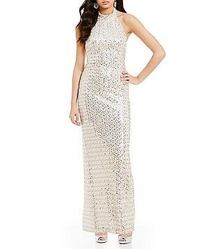 Belle Badgley Mischka Halter Neck Sleeveless Sequin Mira Gown