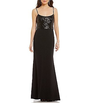 Belle Badgley Mischka Mae Scoop Neck Sleeveless Sequin Crepe Dress