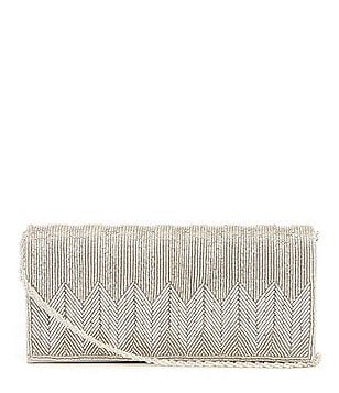 Adrianna Papell Nola Beaded Chevron Clutch