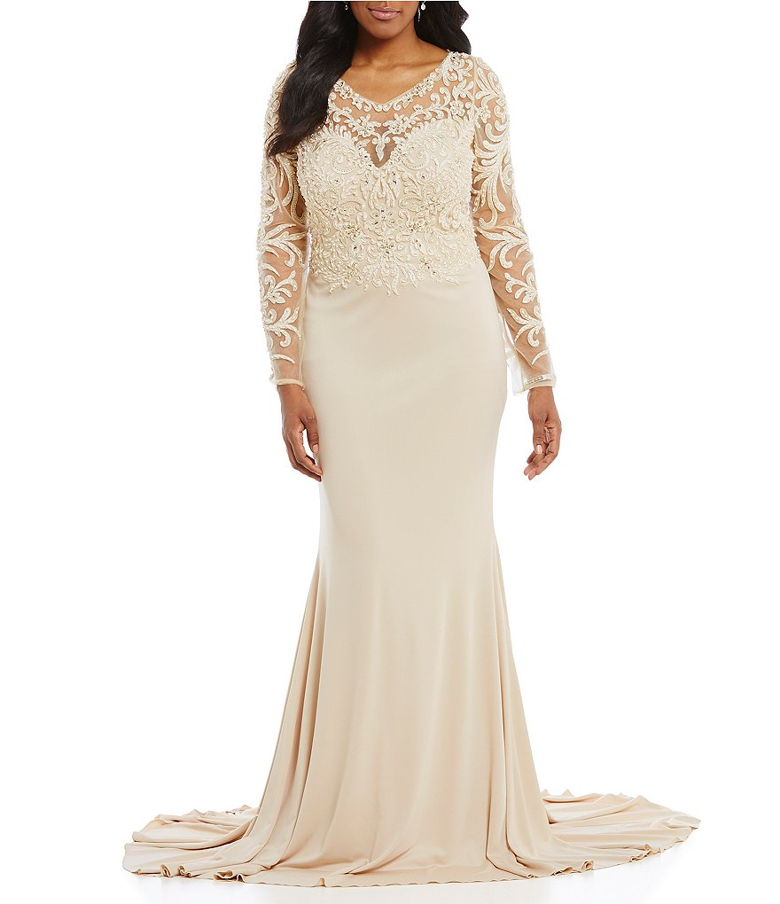 Terani couture plus embroidered beaded gown dillards