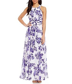 Leslie Fay Floral-Print Pleated Maxi Dress
