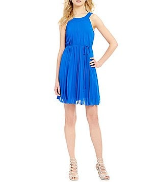 Leslie Fay Pleated A-Line Chiffon Dress