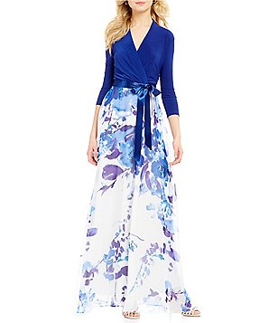 Leslie Fay 3/4 Sleeve Jersey Floral-Print Maxi Dress