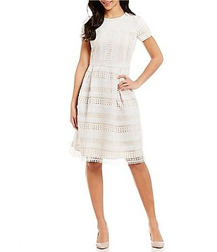 Leslie Fay Short Sleeve Lace Fit-and-Flare Dress