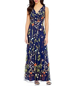 Leslie Fay Sleeveless Floral Embroidered Maxi Dress