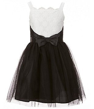 Zunie Big Girls 7-16 Color Block Floral Embroidered Bow Waist Tulle Dress