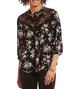 I.N. San Francisco Mock Neck Illusion Lace Yoke 3/4-Sleeve Floral Top
