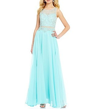 Masquerade Illusion Beaded Long Faux-Two-Piece Dress