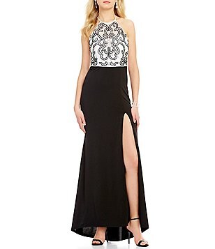 Masquerade Halter Neckline Embellished Bodice Long Dress