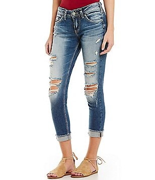 Silver Jeans Co. Suki Destructed Stretch Skinny Crop Jeans