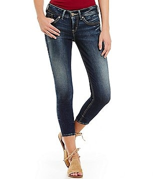 Silver Jeans Co. Suki Skinny Stretch Whiskered Cropped Jeans