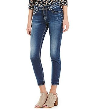 Silver Jeans Co. Avery Super Stretch High Rise Distressed Skinny Ankle Jeans