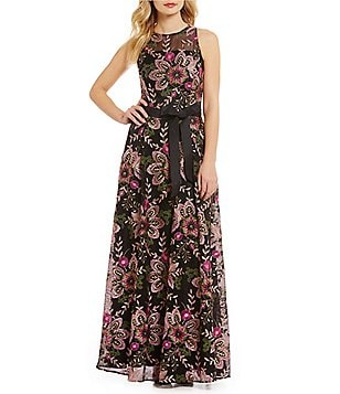 Tahari ASL Sleeveless Floral Embroidered Mesh Gown