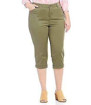 Intro Plus Solid Hailey Twill Capri Pants