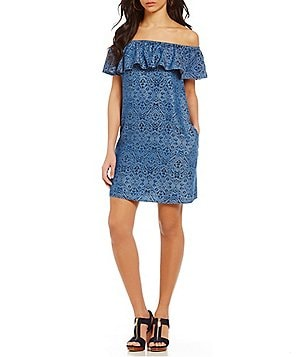 Chelsea & Theodore Ikat Print Off-the-Shoulder Ruffle Dress