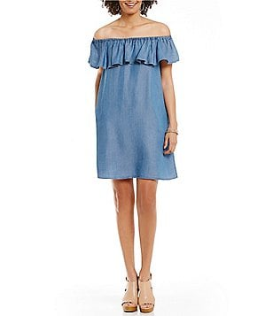 Chelsea & Theodore Tencel Ruffle Off-the-Shoulder Dress