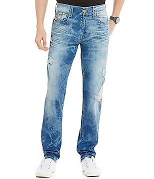 True Religion Geno Tie Dye Flap Pocket Distressed Slim-Straight Jeans