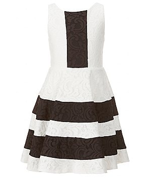 GB Girls Big Girls 7-16 Lace Striped Color Block Sleeveless Skater Dress