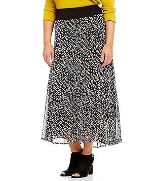 Multiples Plus Elastic Waist Multi-Panel Printed Skirt