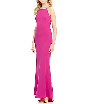 Calvin Klein Cut-Out A-line Halter Gown