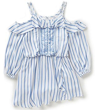 GB Girls Big Girls 7-16 Striped Cold-Shoulder Embroidered Romper