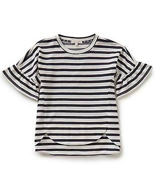 Copper Key Big Girls 7-16 Stripe Bell-Sleeve High-Low Nautical Knit Top