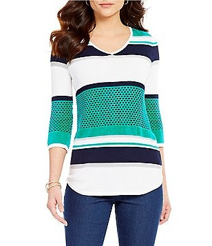 Westbound V-Neck 3/4 Sleeve Striped Sweater
