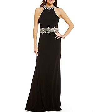 Coya Collection Bead Neckline Open Back Illusion-Inset Long Dress