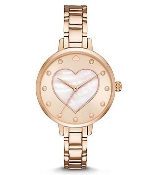 kate spade new york Metro Mother-of-Pearl Heart Analog Bracelet Watch
