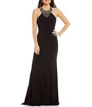 Coya Collection Sleeveless Beaded Draped Back Long Dress