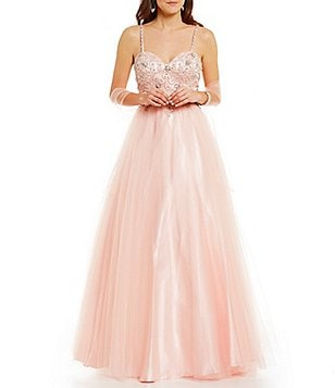 Coya Collection Beaded Bodice Sweetheart Neckline Spaghetti Strap Ball Gown