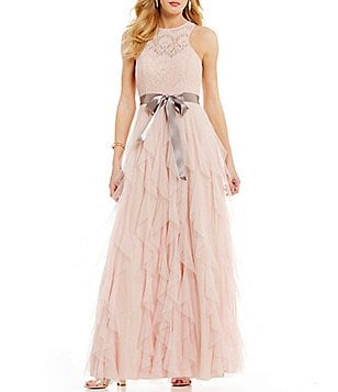 Teeze Me High Neck Lace Bodice Corkscrew Skirt Long Dress
