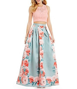 Teeze Me Two-Piece High Neck Open-Back Lace To Floral Print Long Dress