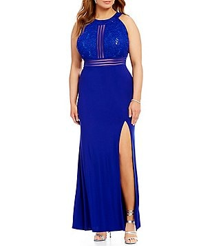 Morgan & Co. Plus High Neck Glitter Sequin Lace Bodice Illusion-Inset Long Dress