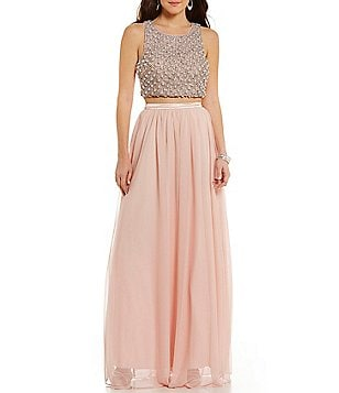 Sequin Hearts Faux Pearl and Stone Bodice Long Two-Piece Dress