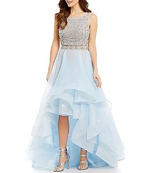 Terani Couture Prom Beaded-Top Organza-Skirt Two-Piece High-Low Dress