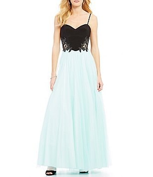 Blondie Nites Applique Sides Color Block Ball Gown