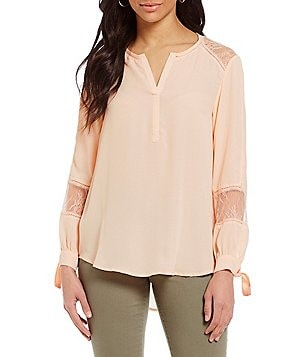 Fever Peasant Split V-Neck Long Sleeve Blouse