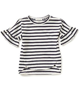Copper Key Little Girls 4-6X Ruffle Short-Sleeve Nautical Stripe Knit Top