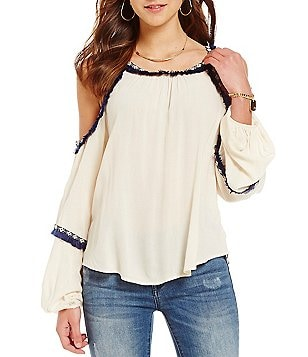 C&V Chelsea & Violet Fray Trim Cold Shoulder Top