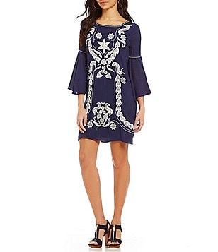 M.S.S.P. Round Neck Bell Sleeve Embroidered Shift Dress