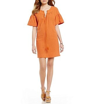 M.S.S.P. Round Neck Bell Sleeve Double Gauze Dress