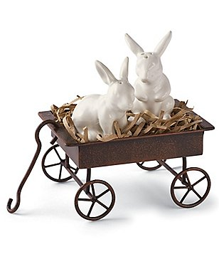 Mud Pie Easter Bunny Salt & Pepper Wagon Set