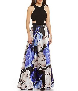 Blondie Nites High Neck Cut-Out Waist Long Floral-Print Dress