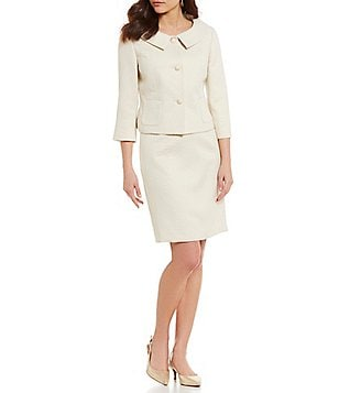 Albert Nipon Circle Jacquard Skirt Suit