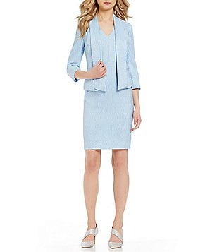 Albert Nipon Textured Novelty Dress Suit