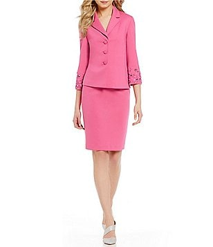 Albert Nipon Beaded-Cuff Ponte Skirt Suit