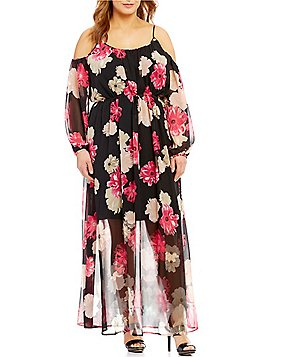 Calvin Klein Plus Off-The-Shoulder Printed Maxi Dress