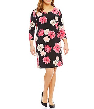 Calvin Klein Plus Floral Print 3/4 Sleeve Dress
