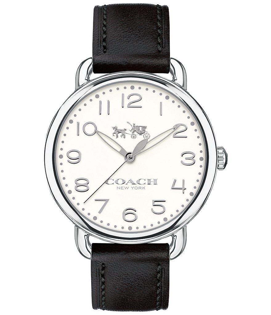 COACH DELANCEY STAINLESS STEEL BLACK LEATHER STRAP WATCH